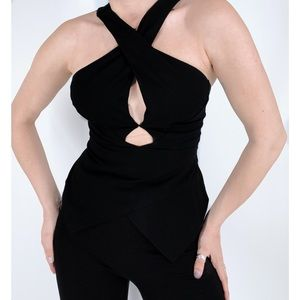 3 for $25 Lush Cut Out Cross Black Tank Top
